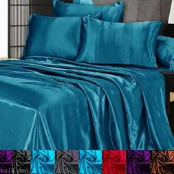 3 Pc Satin Silky Sheet Set Queen/King Size Fitted Pillow Cas