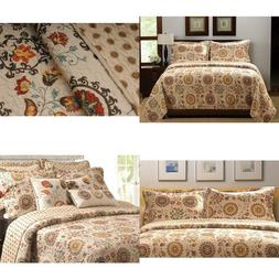 Greenland Home 3-Piece Andorra Quilt Set, King, Multicolor