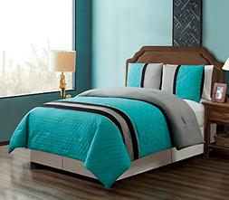 GrandLinen 3 Piece Teal Blue/Grey/Black Embroidery Bed in A