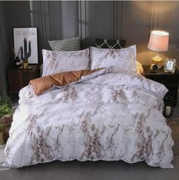 3 Pieces Set Marble Printed Comforter / Duvet Cover Queen Be