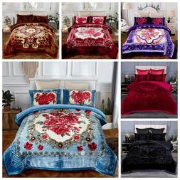 3 Ply Heavy Thick Warm Sherpa Comforter Set With 2 Pillow Sh