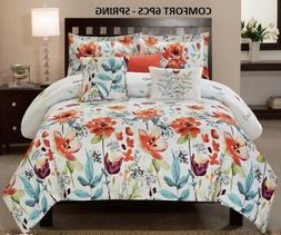 6PC Spring Flower with Leaves Printed Floral Oversize+Overfi