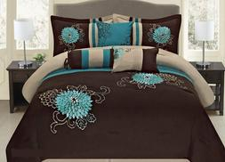 7 Pc Brown Teal and Taupe Embroidered Floral Design Comforte