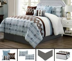 7 Piece Blue Brown Southwest Embroidery Comforter Set Queen/
