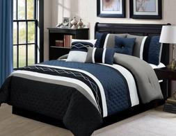 Chezmoi Collection 7-Piece Embroidered Pleated Stripe Comfor