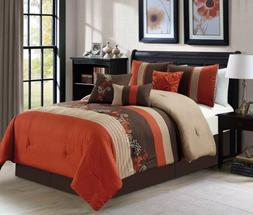 7-Piece Floral Leaves Scroll Embroidery Rust Orange Taupe Br
