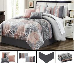 7 Piece Gray Soft Peach  Embroidery Comforter Set Queen/King