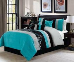 7-Piece Luxury Floral Leaves Scroll Embroidery Teal Gray Bla
