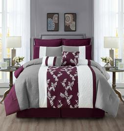 Hypoallergenic Bed Comforter Set Bed in A Bag Teal Gray , Pi