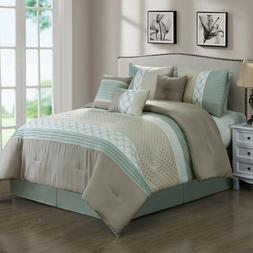 7 Piece Mila Embossed and Pleated Comforter Set Bed-In-A-Bag