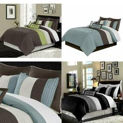 Chezmoi Collection8-Piece Luxury Stripe Comforter Bed-in-a-B