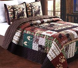 Greenland Home 3 Piece Whitetail Lodge Quilt Set, Full/Queen