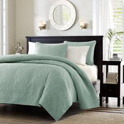 Madison Park Quebec 3 Piece Coverlet Set, Full/Queen, Seafoa