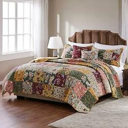 Greenland Home Antique Chic Cotton Patchwork Quilt Set, 5-Pi