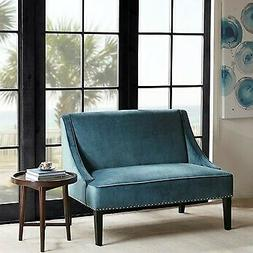 Madison Park Avalon Swoop Arm Settee With Blue And Brown Fin