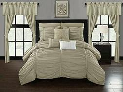 """Chic Home Avila 20 Piece Comforter Set Ruffled Ruched Desig"