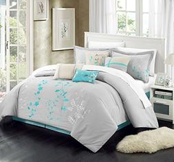 Chic Home 12-Piece Bliss Garden Embroidered Comforter Set, T