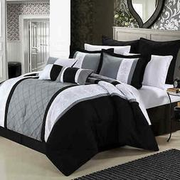 Chic Home Bryce 8-Piece Comforter Set - Black - Size: Queen
