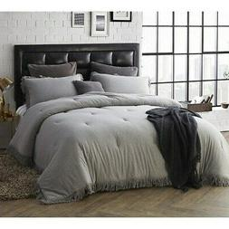 BYB Jersey Knit Oversized Comforter with Textured Edging Gre