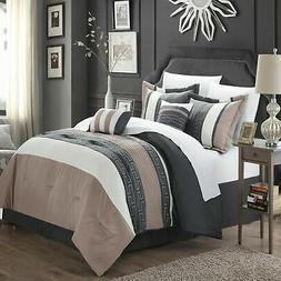 Chic Home Carlton Taupe Grey & Tan Comforter Bed In A Bag Se