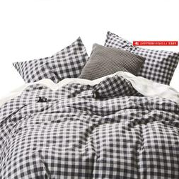 Wake In Cloud - Checker Comforter Set, Gray Grey Buffalo Che