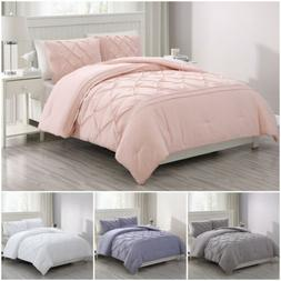 Chezmoi Collection Claire 3pcs Pinch Pleat Soft Washed Micro