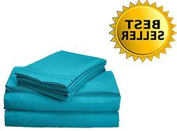 Count Cute Queen Bed Sheets Set 4 Pc Turquoise Egyptian Cott