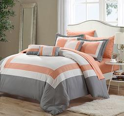 Duke Peach, White & Grey Queen 10 Piece Comforter Bed In A B