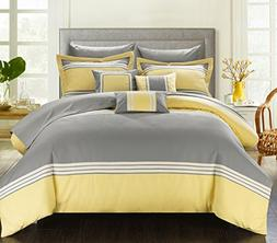 Chic Home 8 Piece Falcon Hotel Collection Striped Patchwork