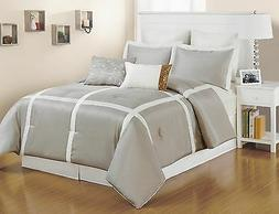 8 pc. Faux Silk, Light Metallic Taupe and White Striped King