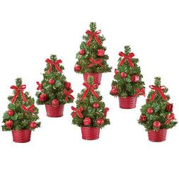Festive Mini Red Christmas Trees - Set Of 6, by Collections