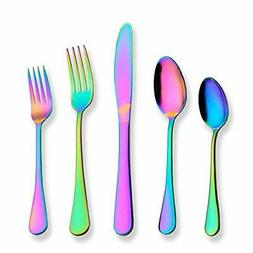 Berglander Flatware Set 20 Piece Stainless Steel Rainbow Col