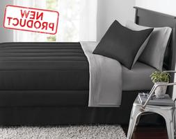 Full Size Comforter Set 8 Pieces Black Gray Bed in a Bag Sof