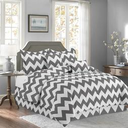Gray 10 Piece Bed In a Bag Chevron Comforter Set - SHEET SET