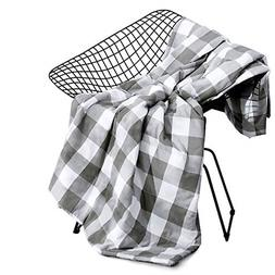 Wake In Cloud - Gray Plaid Blanket Throw, 100% Washed Cotton