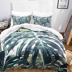 Green Palm Tree Duvet Cover Set Tropical Leaf Bedding Dark G