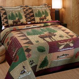 Greenland Home Moose Lodge Quilt Set, KING SIZE, Natural
