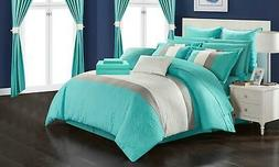 Chic Home Hutch 24-Piece Comforter Set - Turquoise - Size: Q