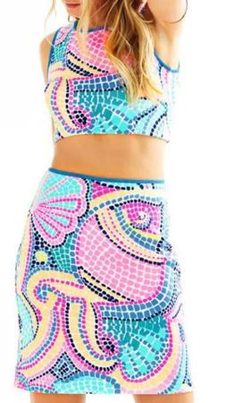 Lilly Pulitzer Kennedy Crop Top XS and Skirt S Set Tile Wave