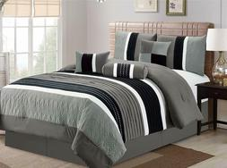 King Size 7Pcs Collection Bed in Bag Luxury Stripe Microfibe