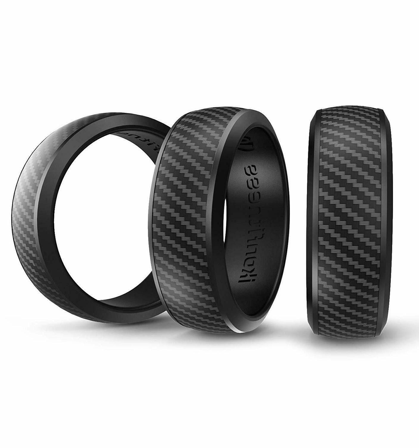 3 black color silicone rubber wedding ring