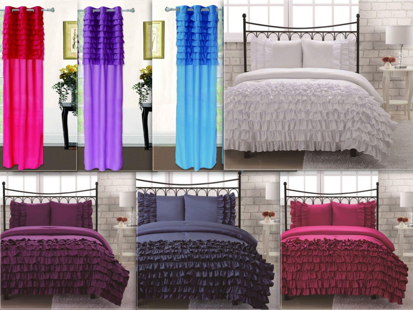 3 piece soft ruffled comforter set