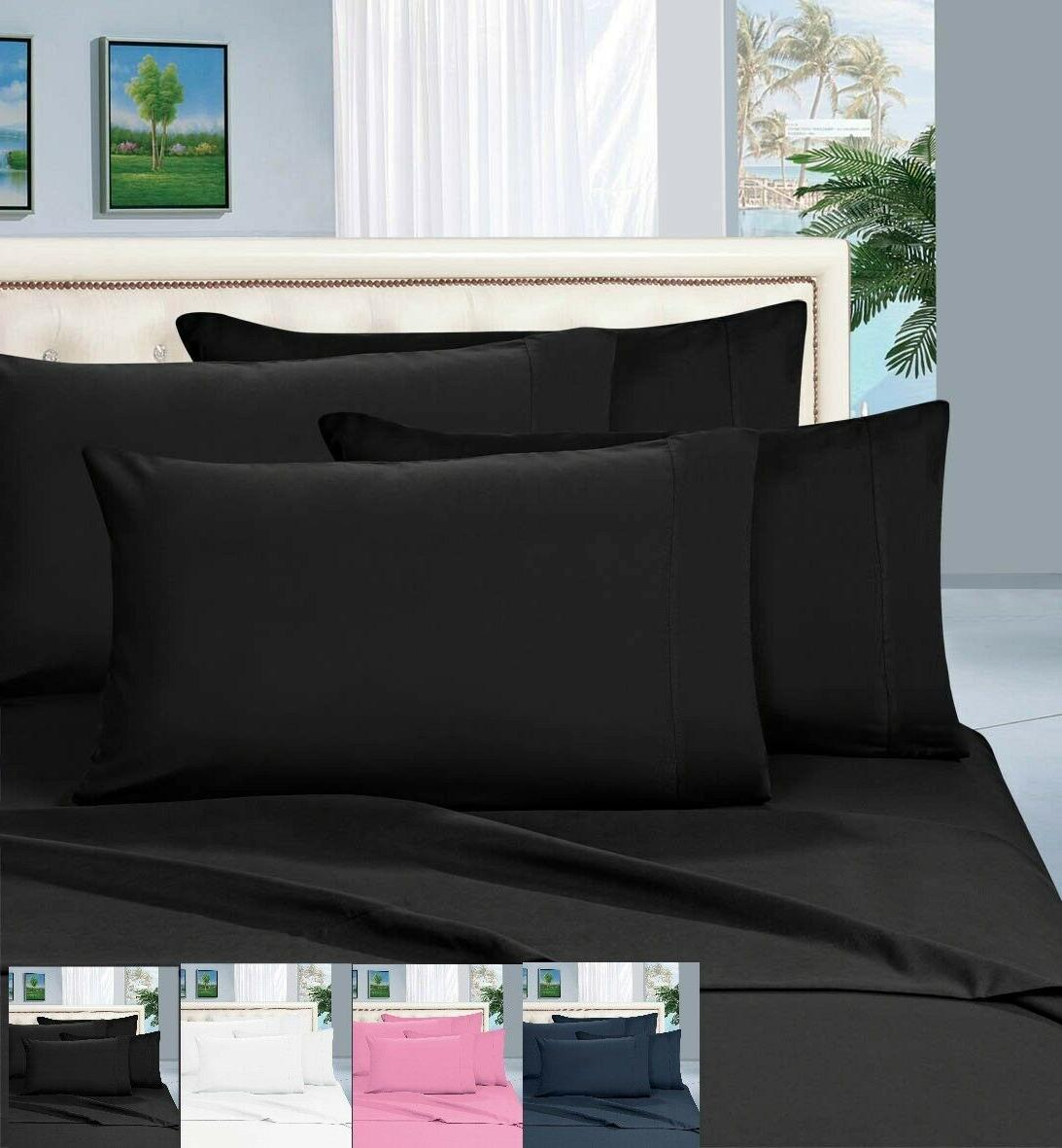 4 Pcs 1800 Thread Count Fitted Bedding Sheets Set Deep Pocke