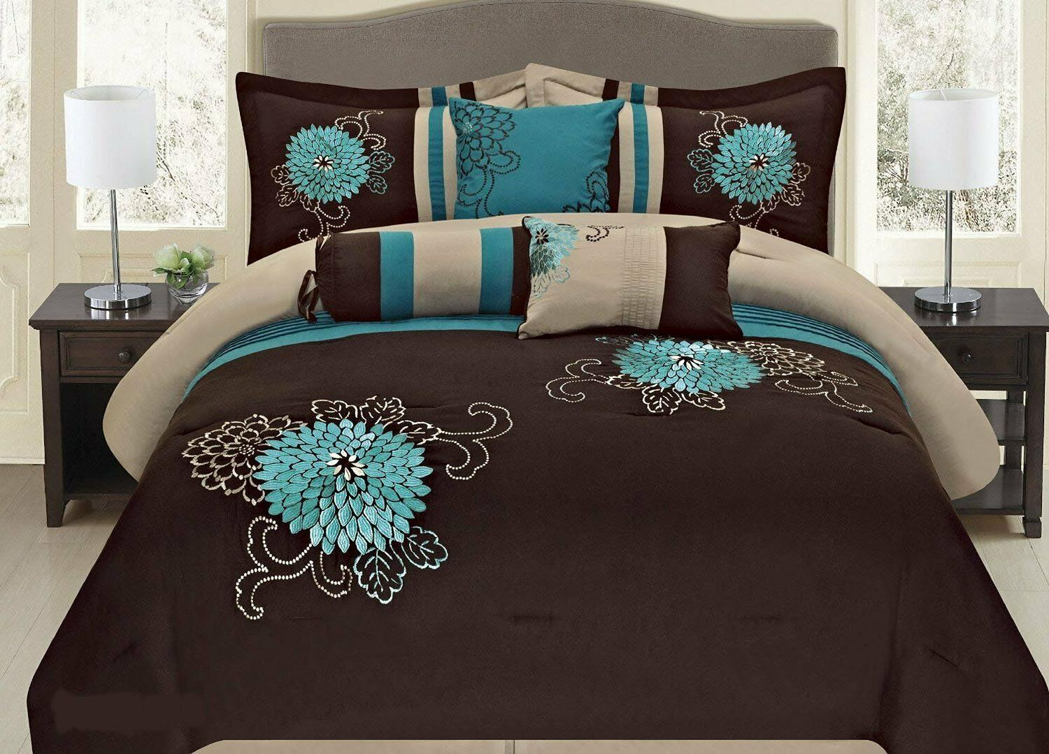 7 pc brown teal and taupe embroidered