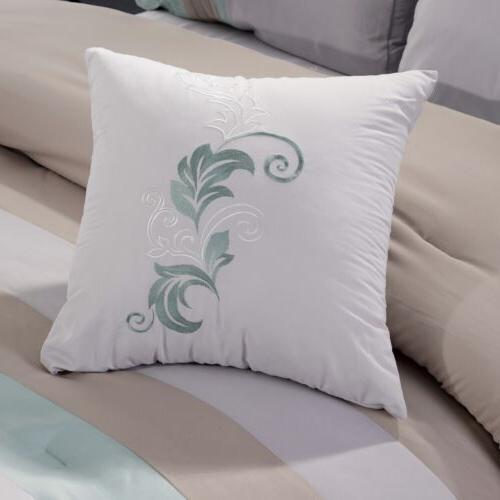 7-Piece Luxury Floral Scroll Embroidery Green Beige Gray Set