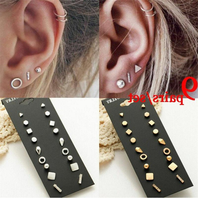 9Pairs Stud Earrings for Women Round Small Earring