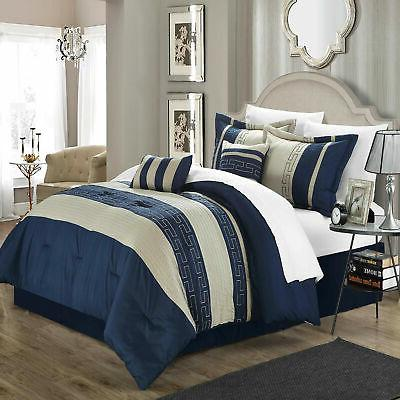 carlton navy and almond comforter bed in