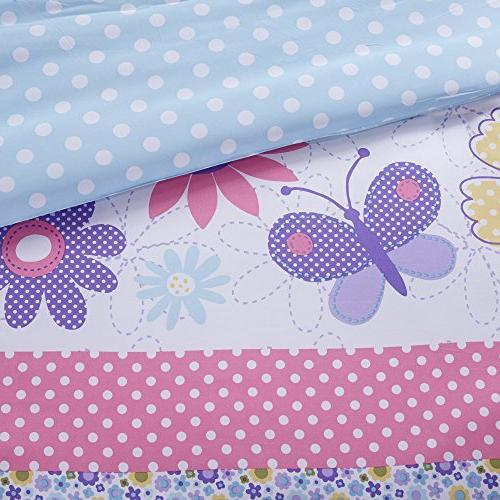Comfort Spaces Daisy Kid - 3 Piece Butterfly Floral - Blue XL Size, Decorative Pillow