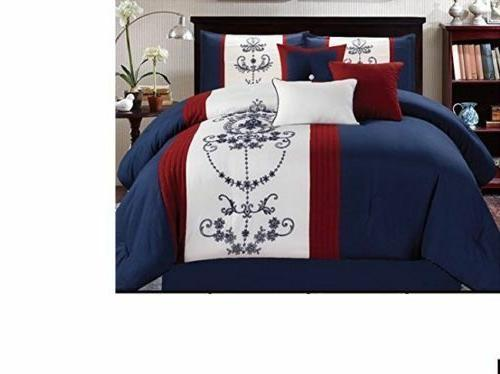 Luxurious 7 Piece Embroidered  Bedding Comforter Set with ac