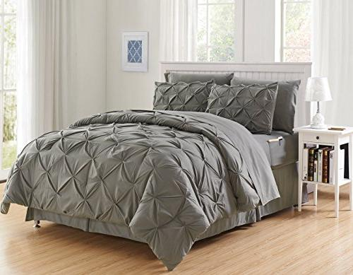Luxury Best, 6-Piece Bed-in-a-Bag Comforter Set on - Silky Set Set with Storage Pockets, Gray